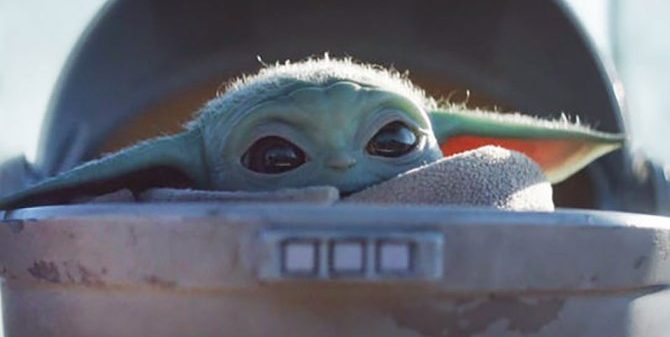 A photo of the internet meme Baby Yoda, which has taken the web by storm given its cuteness
