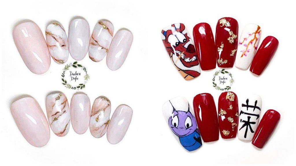 Fordutchessbyduke hand-painted custom press-on nail sets.