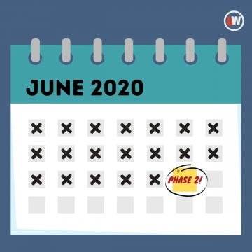 A graphic of the June 2020 calendar, crossing out the dates and circling June 19
