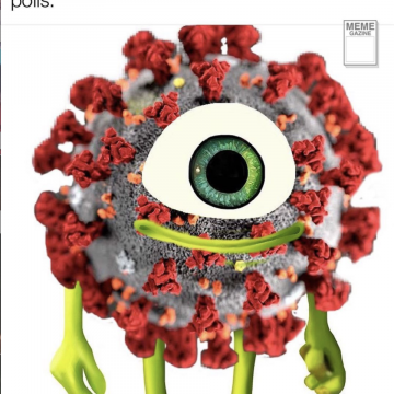 A photo of the Monster's Inc character, Mike Wazowski, photoshopped to look like a coronavirus cell