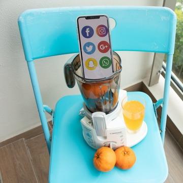 An image of an Iphone inside a blender