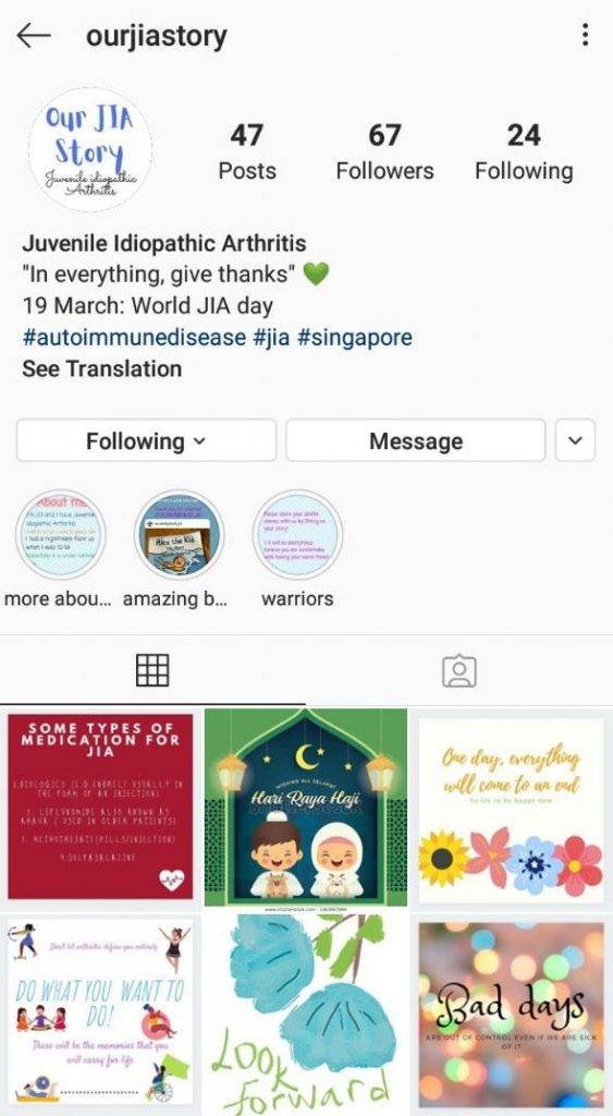 With her instagram account, @ourJIAstory, Jia Ying managed to get in touch with a few other JIA patients